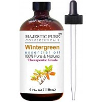 Wintergreen Essential Oil From Majestic Pure Extracted From Leaves, Pure and Natural Therapeutic Grade, 4 fl oz (118 ml)