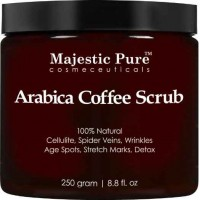 Arabica Coffee Scrub From Majestic Pure Helps Reduce Cellulite, Wrinkles, Stretch Marks, Spider Veins, Acne & Age Spots, 100% Natural Treatment & Care, Skin Detox, 8.8 Oz (250 gm)
