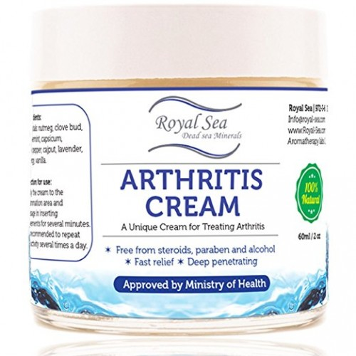 Royal Sea Best Natural Arthritis Joint Pain Relief Cream By Royal Dead Sea [2.02oz] Therapy for Feet, Hand, Neck, Back, Shoulder, Hand, Knee, Foot, Toes, Inflammation Treatment Relieve. Pure Essential oils