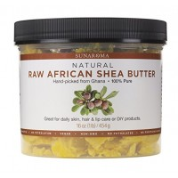 Sunaroma 100% Raw Shea Butter (16 oz) - Premium GHANA Yellow Shea Butter for Skin Improves Elasticity, Stretch Marks, Eczema and Psoriasis