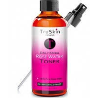 TruSkin Naturals Rose Water Facial Toner Spray - 100% Natural Astringent Face Mist without Alcohol - No artificial fragrance, added chemicals or preservatives (4oz)
