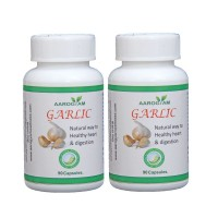 Aarogyam Wellness GARLIC 500mg Capsules (180) for Cardiac Health