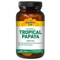 Country Life PAPAYA Chewable Tablets (200) - Digestive Enzymes
