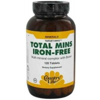 Country Life IRON FREE TOTAL MINS Multi-Mineral Complex with Boron 60 Tablets