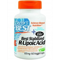 Doctor's Best Best Stabilized R-Lipoic Acid Featuring Bioenhanced Na-RALA (100 mg) 60 Vegetable Capsules