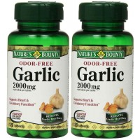 Nature's Bounty GARLIC 2000mg, Odor-Free, 120 Tablets (Pack of 2) - Cholesterol Control