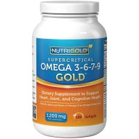 NutriGold Omega 3-6-7-9 GOLD with ZERO Fish Oil - 180 Softgels