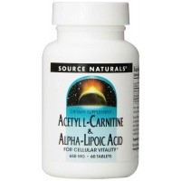Source Naturals Acetyl L-Carnitine and Alpha-lipoic Acid, 650mg, 60 Tablets