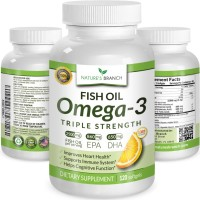 ★ BEST TRIPLE STRENGTH Omega 3 Fish Oil Pills ★ 2500mg HIGH POTENCY Lemon Flavor 860mg EPA 650mg DHA Pure Burpless Liquid Softgels 120 Capsules Brain Joints Eyes Heart Health Supplement