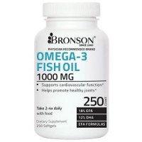 Bronson Labs OMEGA-3 FISH OIL 1000 MG - NO FISHY TASTE or BURPS - 250 Softgels
