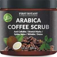 100% Natural Arabica Coffee Scrub 12 oz. with Organic Coffee, Coconut and Shea Butter - Best Acne, Anti Cellulite and Stretch Mark treatment, Spider Vein Therapy for Varicose Veins & Eczema