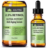 2.5% RETINOL Anti Aging Serum - ULTRA POTENT & EFFECTIVE / With Hyaluronic Acid, Vitamin E, Wheat Germ, Aloe & Jojoba + FREE E-Book (one 1oz bottle)