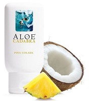 Aloe Cadabra Edible Pina Colada Flavored Lubricant - All Natural for Best Sex Personal Lube, 100% Sugar Free 2.5 Oz