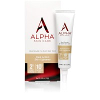 Alpha Skin Care - Dual Action Skin Lightener, 2% Hydroquinone, 10% Gycolic AHA, Real Results for Even Skin Tone| Paraben-Free| 0.85-Ounce