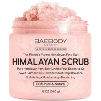 Baebody Himalayan Salt Body Scrub - Deep Cleansing Exfoliator with Lychee Essential Oil and Sweet Almond Oil, Moisturizes Nourishes Soothes & Promotes Glowing Radiant Skin, Natural Body Wash, 12oz
