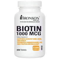 Biotin 1000 Mcg, 250 Tablets, Made in USA by Bronson Labs