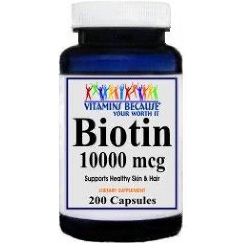 Biotin 10000 mcg containing 200 capsules by Vitamins Because Your Worth It