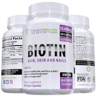 Biotin 10000mcg - 60 Count - Hair Skin and Nails Formula - Maximum Strength Capsules : Made With Nature's Best Hair Growth Supplement - Longer, Healthier and Stronger Hair and Nails - Veggie Capsules