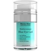 Blue Eye Gel For Dark Circles, Puffiness, Wrinkles and Bags - Smooth and Firm Eye Area - Made with Mediterranean Blue Algae Extract - by Buena Skin 1 fl. oz.