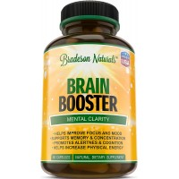 Brain Booster Natural Nootropic Dietary Supplement. DMAE, Bacopa Extract, Vitamin B. Supports Memory, Concentration, Focus, Mental Clarity & Sharpness, Mood, Alertness, Cognitive Function & Energy