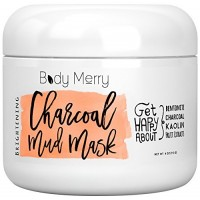 Brightening Charcoal Mud Mask- Facial Scrub Cleans Skin, Clears Blackheads, Unclogs Pores; Fight Acne& Detoxify + Brighten Complexion w Best Anti-Aging Fruit Extracts + Bentonite + Kaolin…