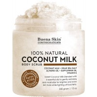 Coconut Milk Body Scrub with 6 Essential Oils | Natural Deep Cleansing Exfoliator | Promoting Radiant Skin 12 oz By Buena Skin (Coconut Milk)