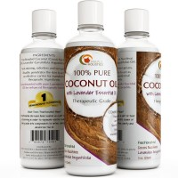 Coconut Oil for Skin & Hair with Lavender Essential Oil Fractionated Cold Pressed Unrefined Moisturizing Natural Skin Care Emollient Aromatherapy Massage Carrier Health and Beauty Oil for Women & Men