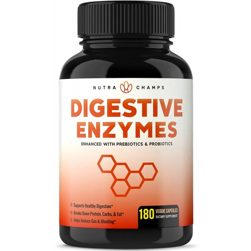 Digestive Enzymes with Prebiotics & Probiotics 180 Vegan Capsules - Better Digestion & Nutrient Absorption - Multi Enzyme Supplement. Helps Bloating, Gas, Discomfort, IBS & Lactose Intolerance