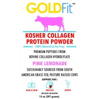 Dr. Formulas Goldfit Hydrolyzed Collagen Powder Peptides and Protein from Grass Fed S American Cows - Tasteless, Low Carbohydrate, Kosher (14oz Pink Lemonade)