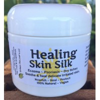 HEALING SKIN SILK, Heals Eczema Psoriasis, Dry Itchy Skin, Nourishing Skin Balm. Rich Plant Butters, Holistic NATURAL 2 oz Cream Lotion. Soothing to body & soul. Feed your skin... rub it in!