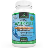 Herbal Diuretic Water Pills with Dandelion and Potassium for Natural Relief from Swelling, Bloating and Water Weight Gain