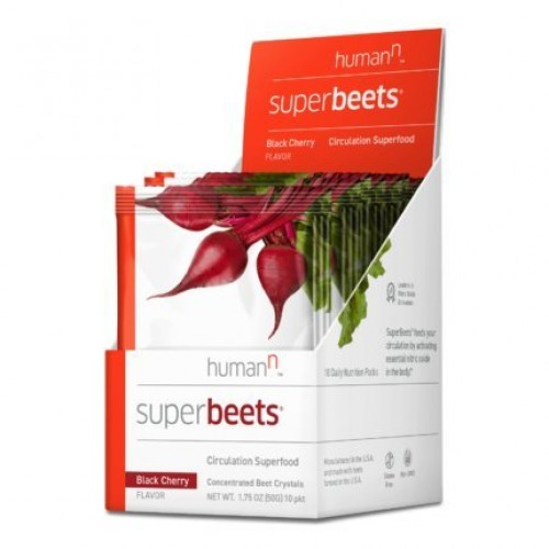 HumanN SuperBeets Black Cherry 10 Count Box - Circulation Superfood - Premium Nitric Oxide Superfood Non-GMO Nitrate Rich Beet Root Powder - 10 5 Gram Packets