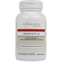 Integrative Therapeutics - Rhizinate 3X - Extra Strength DGL Licorice Extract for Digestive Relief - German Chocolate Flavor - 90 Chewable Tablets