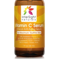 InterSight Vitamin C Serum 20% - TOP RATED for Face & Skin - BEST Organic & Vegan Anti Aging Beauty Product, 11% Hyaluronic Acid, Vit E, Aloe, Ferulic Acid, Moisturizer for Glowing Skin Benefits 1 Oz