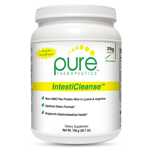 """IntestiCleanse """"Chocolate"""" - 29g of Pure Vegan Protein, a Non-Gmo Pea Protein Blend Sweetened with Monk Fruit 