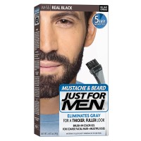 Just For Men Mustache and Beard Brush-In Color Gel, Real Black (Pack of 3)