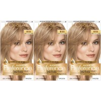 L'Oréal Paris Superior Preference Permanent Hair Color, 8 Medium Blonde, 3 pack