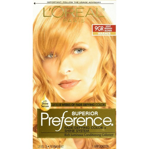 L'Oreal Paris Superior Preference Fade-Defying Color Plus Shine System, 9GR Light Golden Reddish Blonde