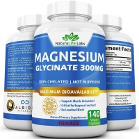 Magnesium Glycinate 1500mg (300 Mg Elemental) 140 caps Highly Absorbable TRAACS Albion vegan Helps Function of muscles, bones, heart Non-GMO 100% chelated not buffered by NaturaLife Labs