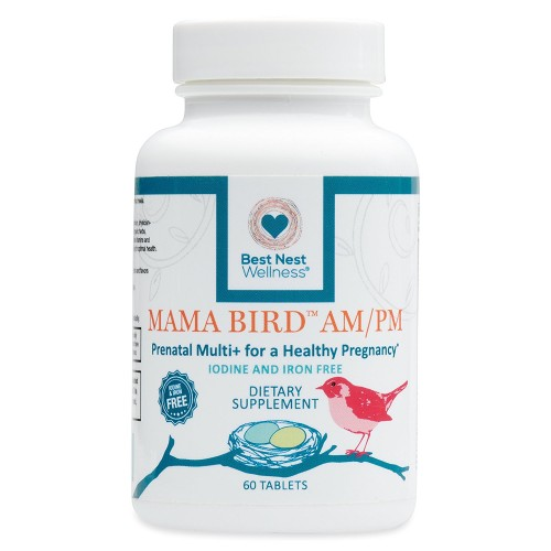 Mama Bird AM/PM Prenatal Multivitamin Iron + Iodine Free | Methylfolate (Folic Acid), Methylcobalamin (B12), 100% Natural Whole Food Organic Herbal Blend, Vegan, Twice Daily Vitamin, 60 Count ……