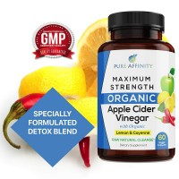 Maximum Strength All Organic Apple Cider Vinegar Capsules with Lemon and Cayenne Ultimate Detox Cleanse 600mg ACV per Pill- 60 Count Bottle