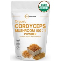 Maximum Strength Organic Cordyceps Mushroom 100:1 Powder, 6 Ounce, Powerful Immune System and Vascular Health Support. Non-Irradiated, Non-Contaminated, Non-GMO and Vegan Friendly.