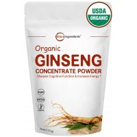 Maximum Strength Organic Ginseng Root 200:1 Extract Powder (4 Ounce). Powerfully Improves Stamina, Mental & Physical Performance. Non-Irradiated, Non-Pesticide, Non-GMO and Vegan Friendly.