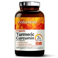 Maximum Strength Organic Turmeric Curcumin, 1500mg, 120 Veggie Capsules, with Black Pepper for Best Absorption, Anti-Inflammatory Joint Relief. Non-GMO, Vegan Friendly and Made in USA