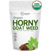 Maximum Strength Pure Organic Horny Goat Weed Powder (Epimedium Extract with Active 10% Icariins), Powerful Libido and Energy Booster, Water Soluble for Best Absorption. 100 Grams. Vegan Friendly.