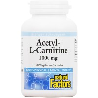 Natural Factors - Acetyl L-Carnitine 500mg, Promotes Normal & Healthy Brain Function, 120 Vegetarian Capsules