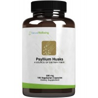 Natural Wellbeing - Psyllium Husks 500mg - Natural Dietary Fiber Support for Constipation and Appetite Control - 180 Vegetarian Capsules