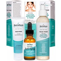 NutraNuva Face Food Natural Skin Care – Stop-the-Clock! Bundle with our Anti Aging Anti Wrinkle Moisturizer + Anti Aging Serum Complex with 20% C + All-in-One Cleanser, Exfoliator & Toner (3 Items)