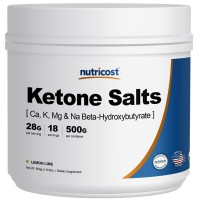Nutricost Exogenous Ketone Salts Beta-Hydroxybutyrate (BHB) Lemon-Lime 500 Grams (4-in-1 Ca, K, Mg, Na)