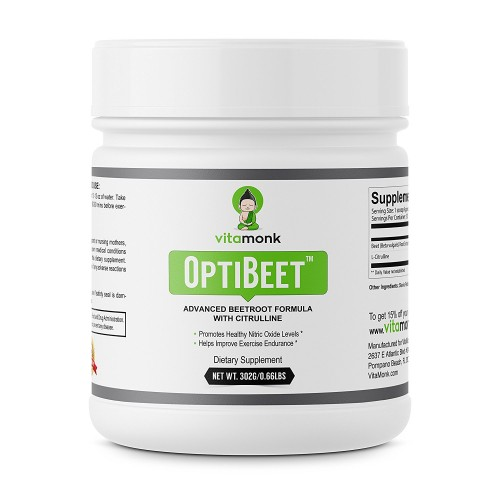 OptiBeet™ - Powerful Beet Root Extract with L-Citrulline Endurance Booster - Natural Red Beetroot Powder Preworkout Fuel - Best Nitric Oxide Enhancer Supplement - Powdered Nitrate Supplements Drink